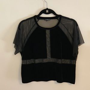 Express mesh and velvet cropped tee